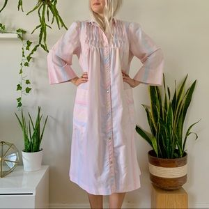 Vintage 70s cotton candy striped house coat M/L